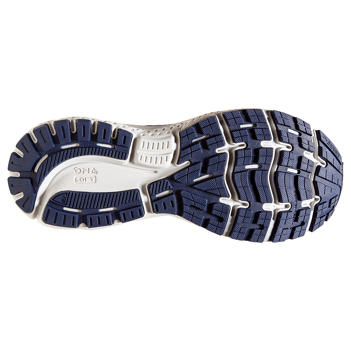 Men's Brooks Ghost 13 Running Shoe - Color: White/Grey/Deep Blue - Size: 7 - Width: Regular, White/Grey/Deep Blue, large, image 4