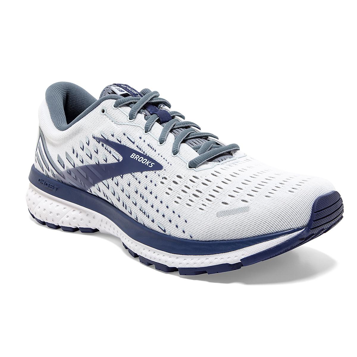 Men's Brooks Ghost 13 Running Shoe - Color: White/Grey/Deep Blue - Size: 7 - Width: Regular, White/Grey/Deep Blue, large, image 5