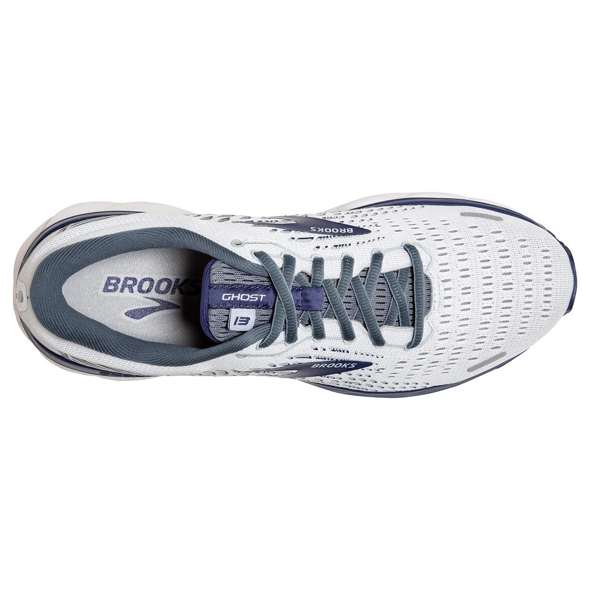 Men's Brooks Ghost 13 Running Shoe - Color: White/Grey/Deep Cobalt - Size: 7 - Width: Extra Wide, White/Grey/Deep Cobalt, large, image 2