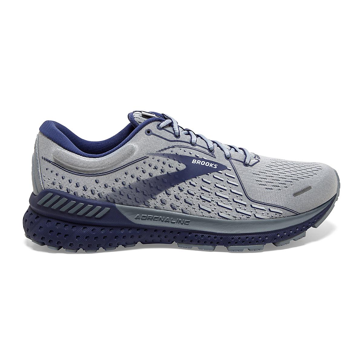 Men's Brooks Adrenaline GTS 21 Running Shoe - Color: Grey/Tradewinds - Size: 7 - Width: Regular, Grey/Tradewinds, large, image 1