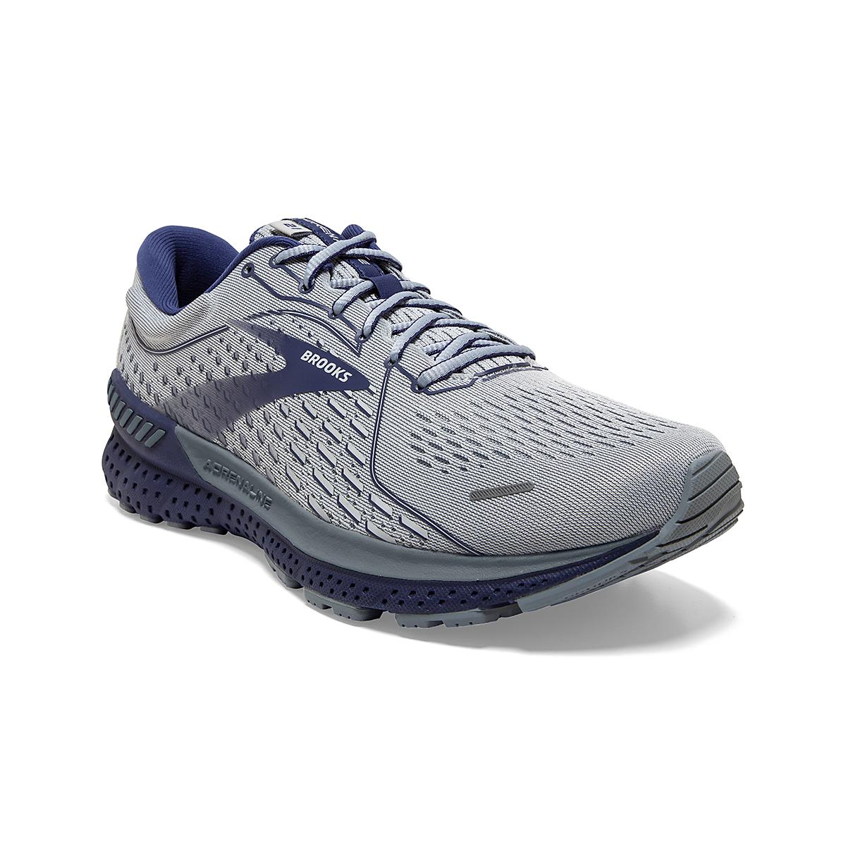 Men's Brooks Adrenaline GTS 21 Running Shoe - Color: Grey/Tradewinds - Size: 7 - Width: Regular, Grey/Tradewinds, large, image 3