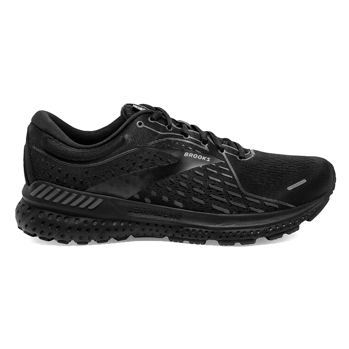 Men's Brooks Adrenaline GTS 21 Running Shoe - Color: Black/Black/Ebony - Size: 7 - Width: Regular, Black/Black/Ebony, large, image 1