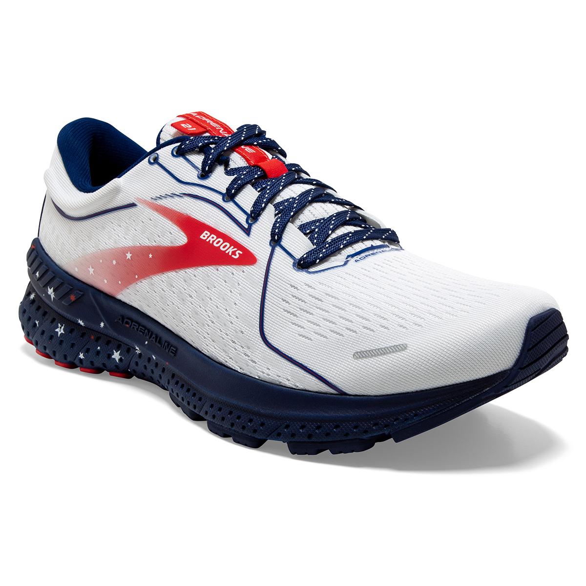 Men's Brooks Adrenaline GTS 21 Running Shoe - Color: White/Blue/Red - Size: 7 - Width: Regular, White/Blue/Red, large, image 2