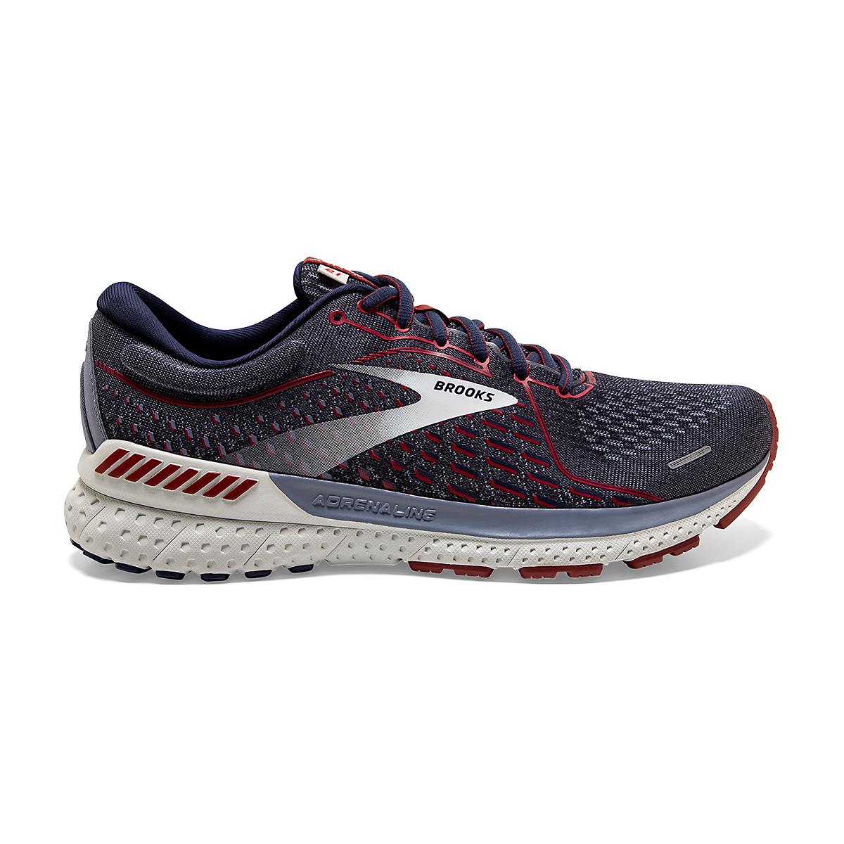 Men's Brooks Adrenaline GTS 21 Running Shoe - Color: Peacoat/Grey/Red - Size: 7 - Width: Regular, Peacoat/Grey/Red, large, image 1