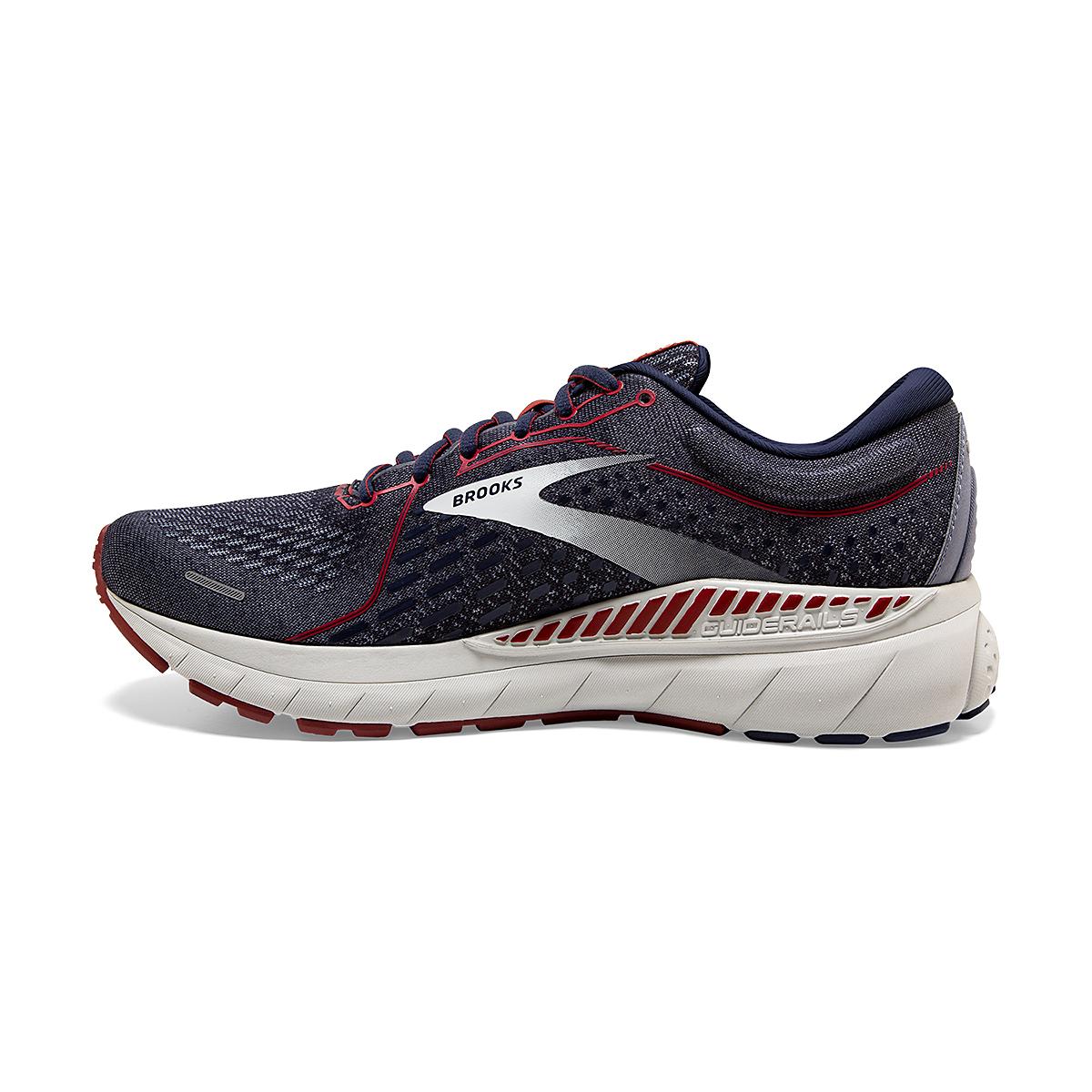 Men's Brooks Adrenaline GTS 21 Running Shoe - Color: Peacoat/Grey/Red - Size: 7 - Width: Regular, Peacoat/Grey/Red, large, image 2