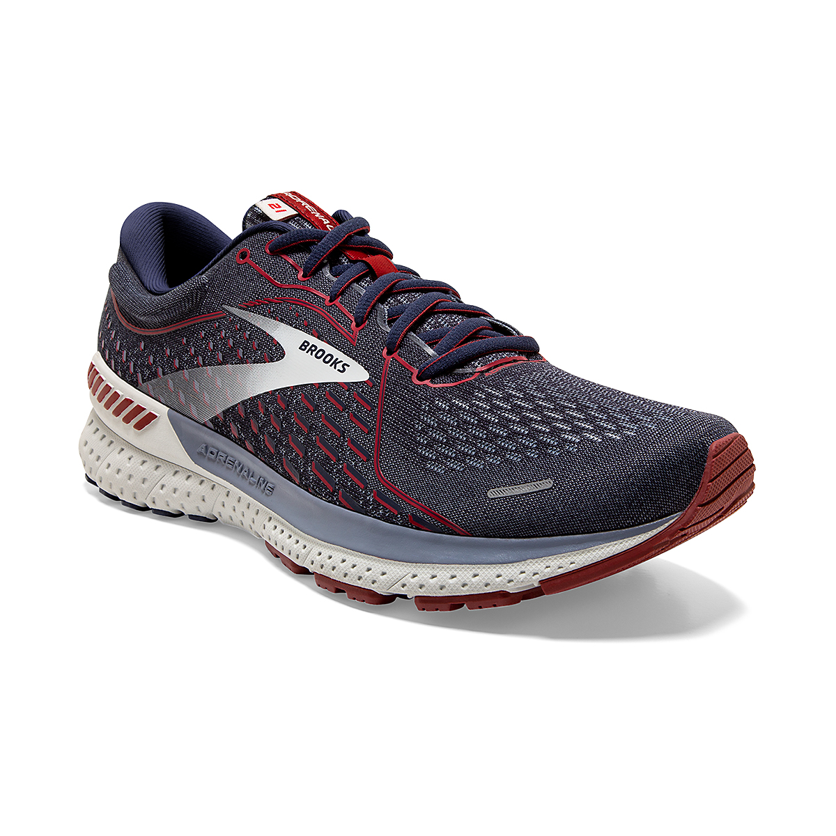 Men's Brooks Adrenaline GTS 21 Running Shoe - Color: Peacoat/Grey/Red - Size: 7 - Width: Regular, Peacoat/Grey/Red, large, image 4