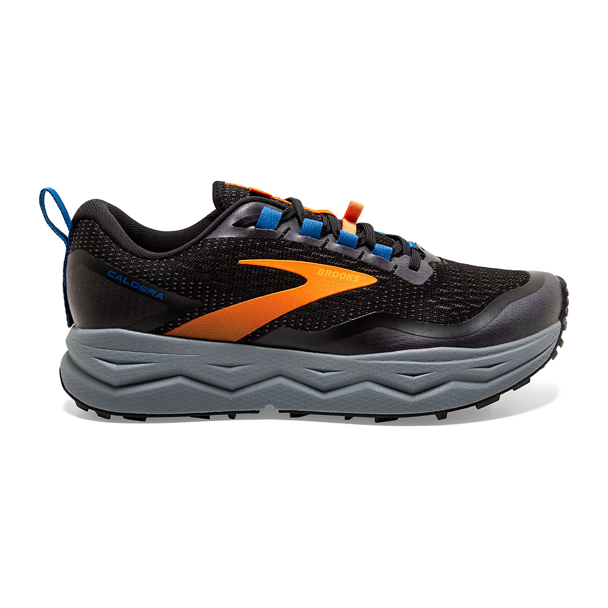 Men's Brooks Caldera 5 Trail Running Shoe  - Color: Black/Orange  - Size: 7 - Width: Regular, Black/Orange, large, image 1