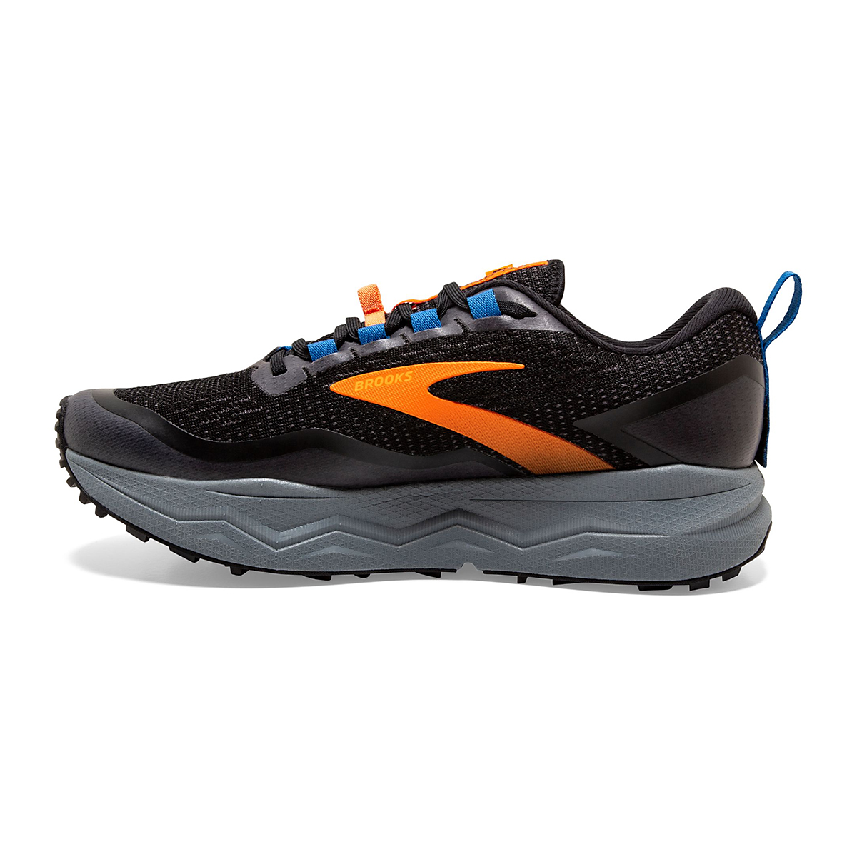 Men's Brooks Caldera 5 Trail Running Shoe  - Color: Black/Orange  - Size: 7 - Width: Regular, Black/Orange, large, image 2