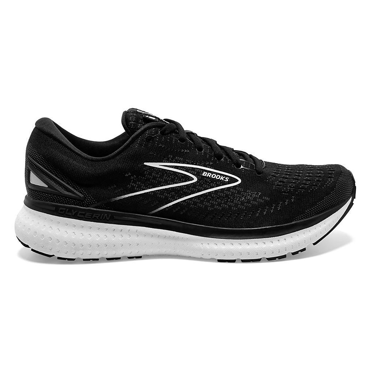 Men's Brooks Glycerin 19 Running Shoe - Color: Black/White - Size: 7 - Width: Regular, Black/White, large, image 1