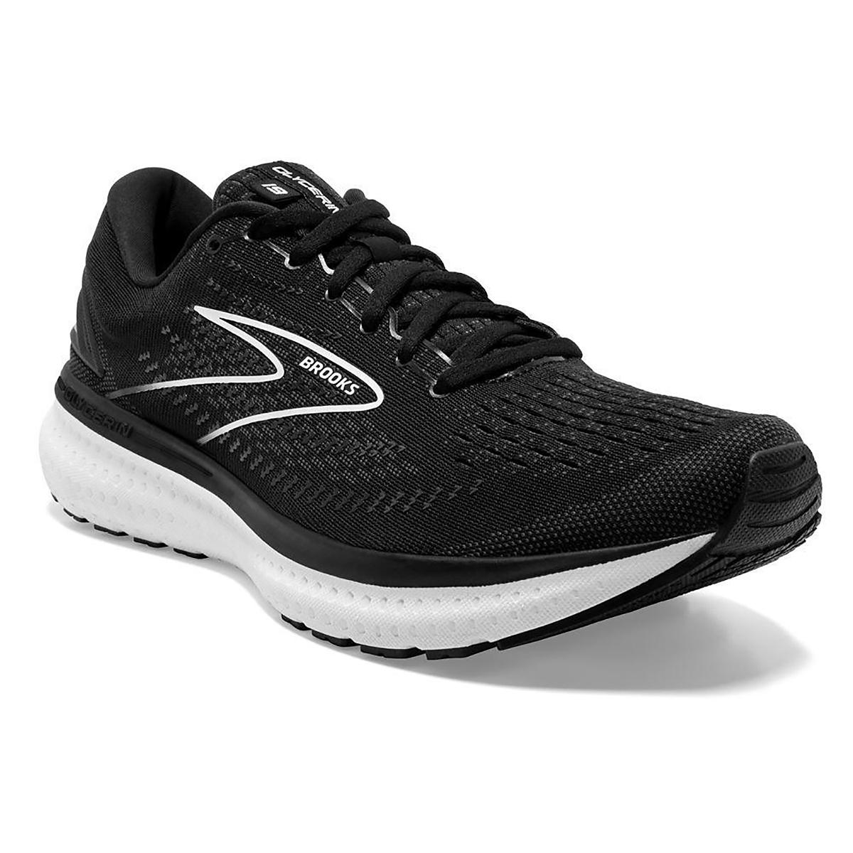 Men's Brooks Glycerin 19 Running Shoe - Color: Black/White - Size: 7 - Width: Regular, Black/White, large, image 3