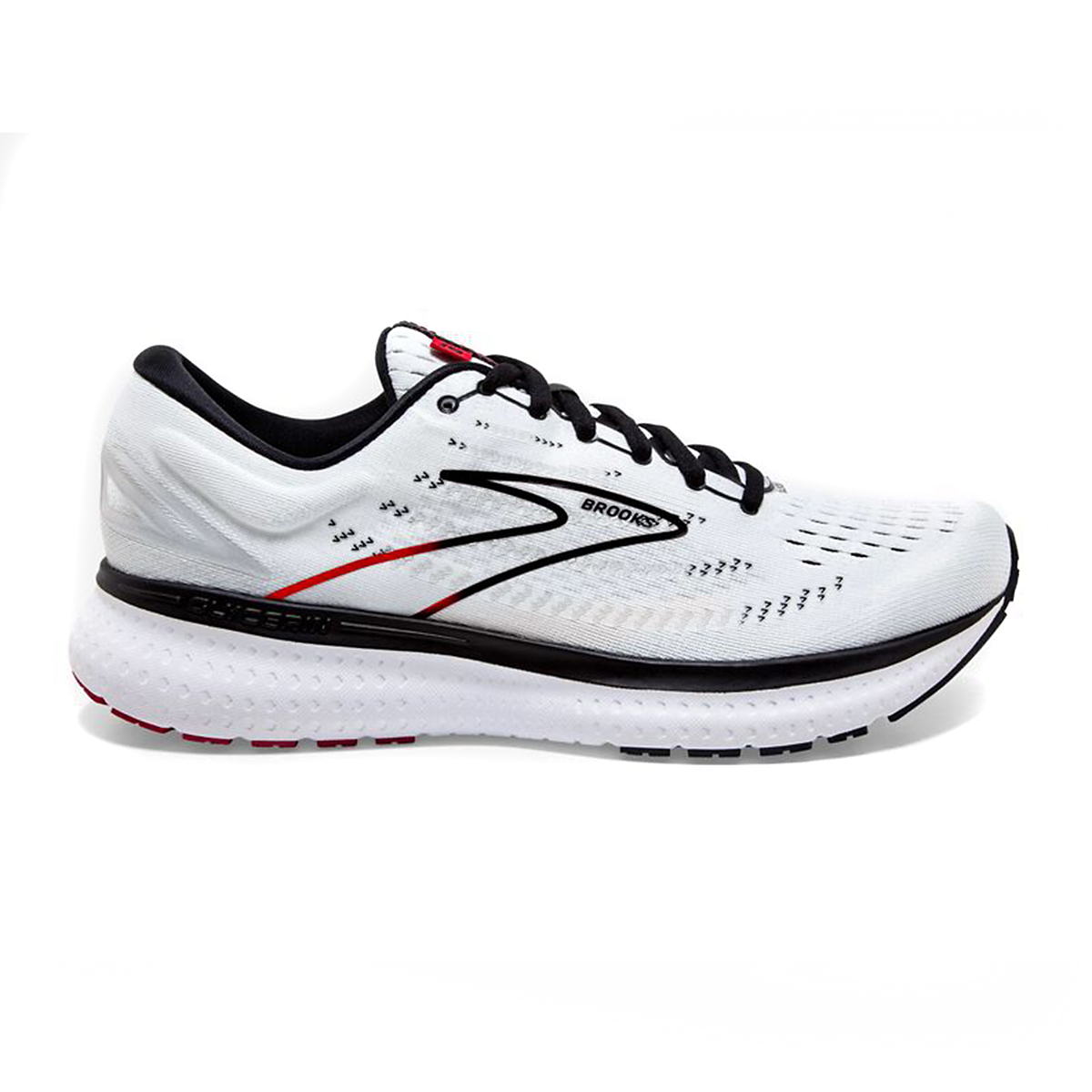 Men's Brooks Glycerin 19 Running Shoe - Color: White/Black/Red - Size: 7 - Width: Regular, White/Black/Red, large, image 1
