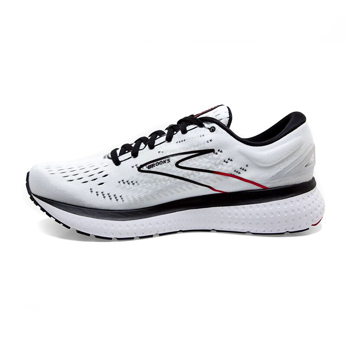 Men's Brooks Glycerin 19 Running Shoe - Color: White/Black/Red - Size: 7 - Width: Regular, White/Black/Red, large, image 2