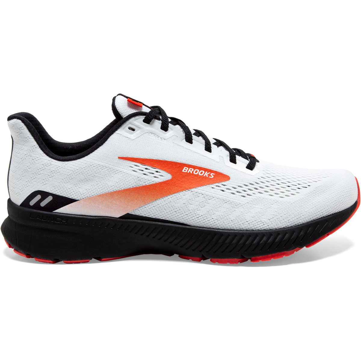 Men's Brooks Launch 8 Running Shoe - Color: White/Black/Red - Size: 7 - Width: Regular, White/Black/Red, large, image 1