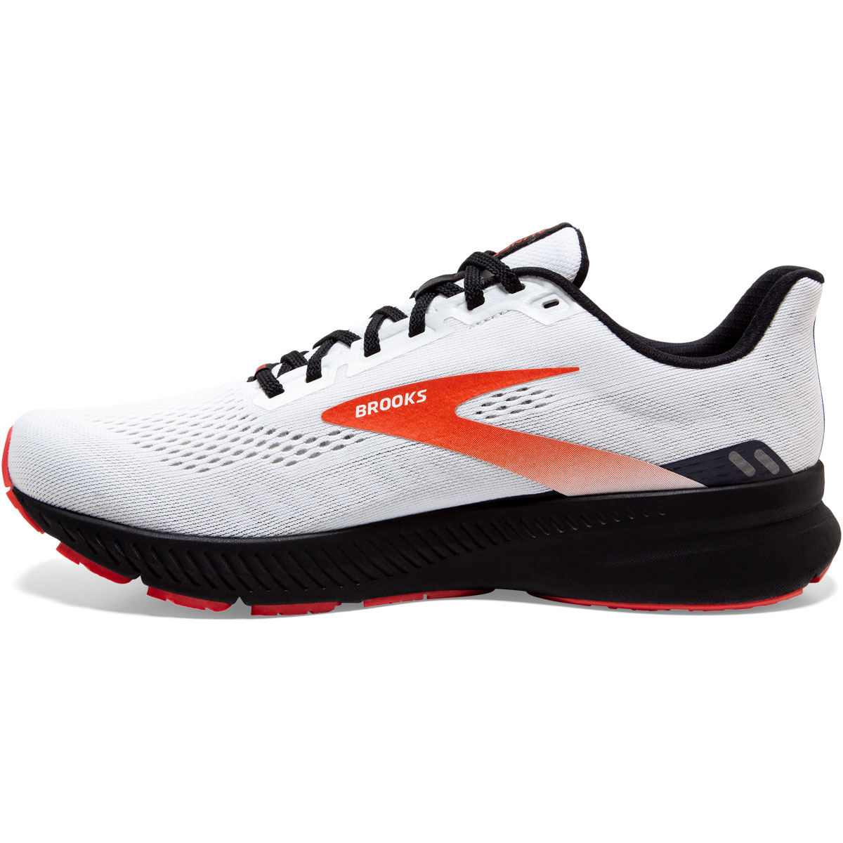 Men's Brooks Launch 8 Running Shoe - Color: White/Black/Red - Size: 7 - Width: Regular, White/Black/Red, large, image 2