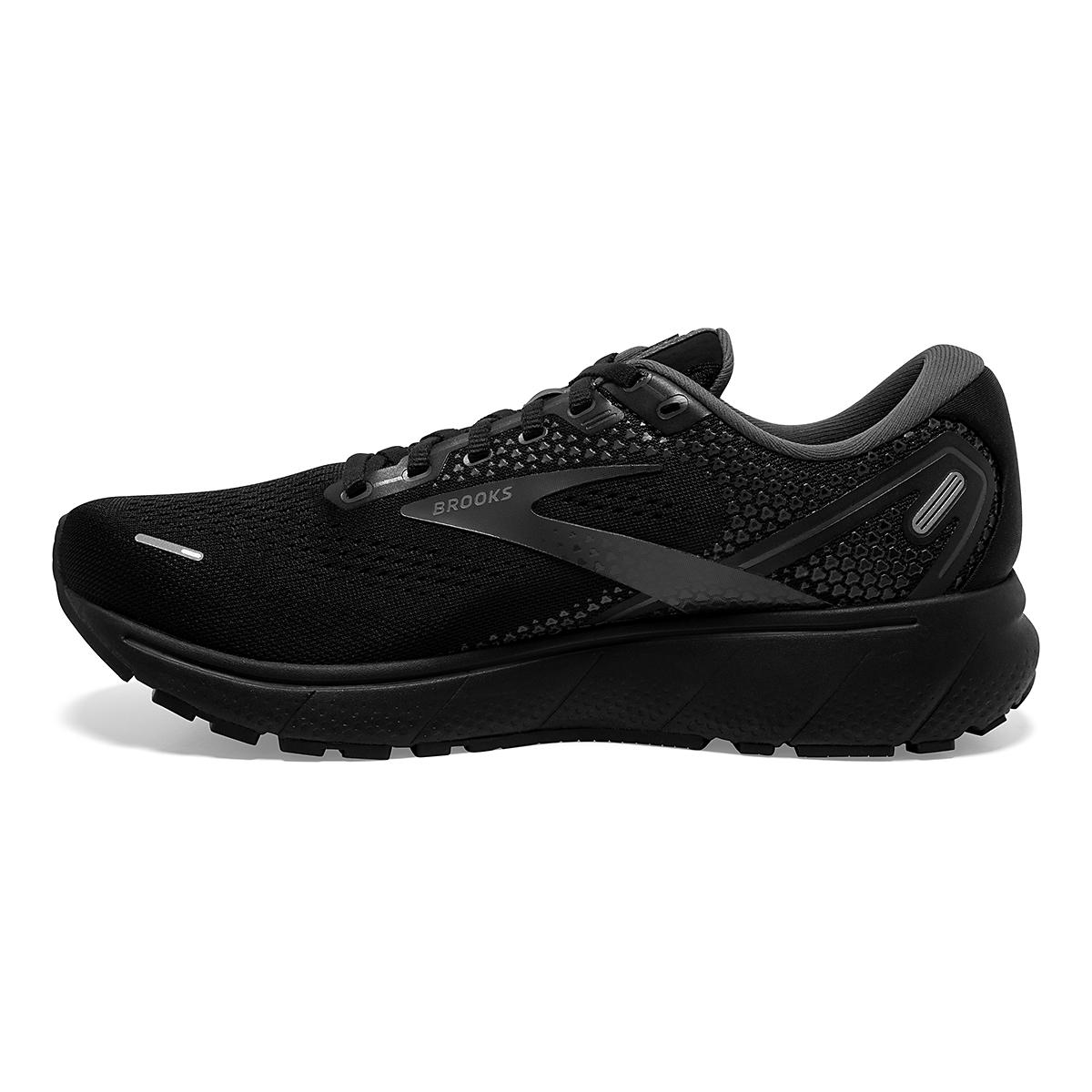 Men's Brooks Ghost 14 Running Shoe - Color: Black/Black/Ebony - Size: 7 - Width: Regular, Black/Black/Ebony, large, image 2