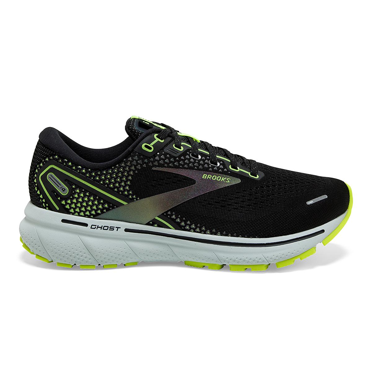 Men's Brooks Ghost 14 Running Shoe - Color: Black/Nightlife - Size: 7 - Width: Regular, Black/Nightlife, large, image 1
