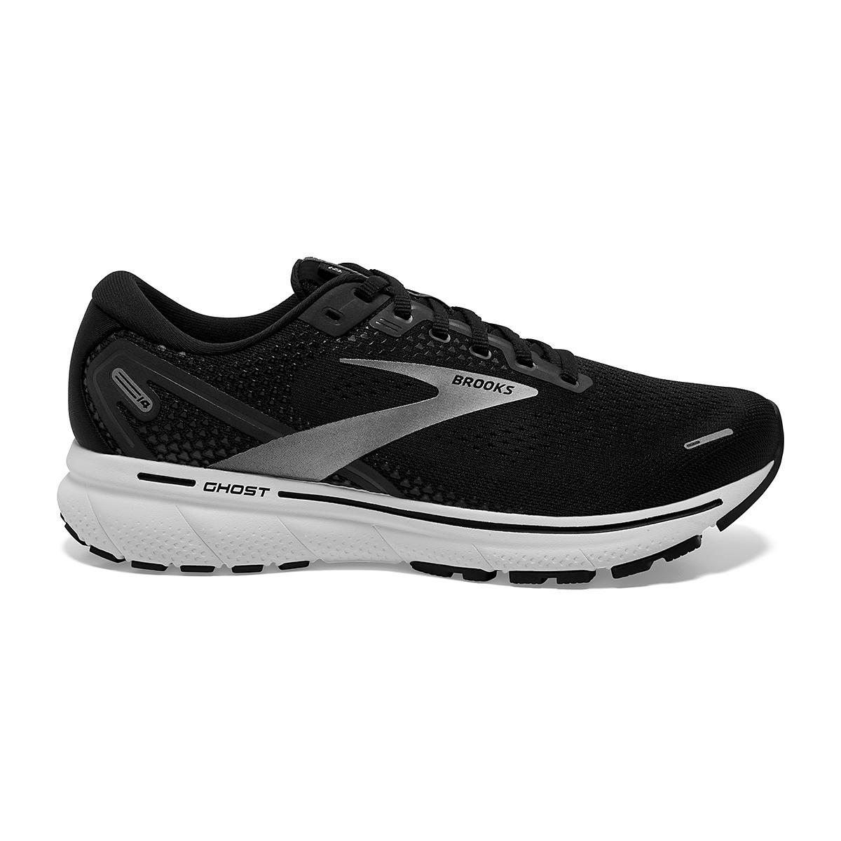 Men's Brooks Ghost 14 Running Shoe - Color: Black/White - Size: 7 - Width: Regular, Black/White, large, image 1