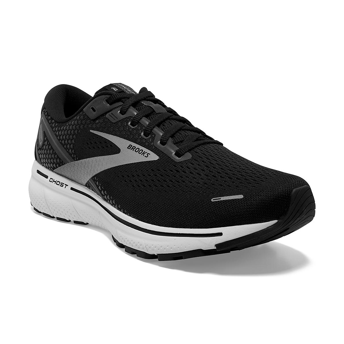 Men's Brooks Ghost 14 Running Shoe - Color: Black/White - Size: 7 - Width: Regular, Black/White, large, image 2
