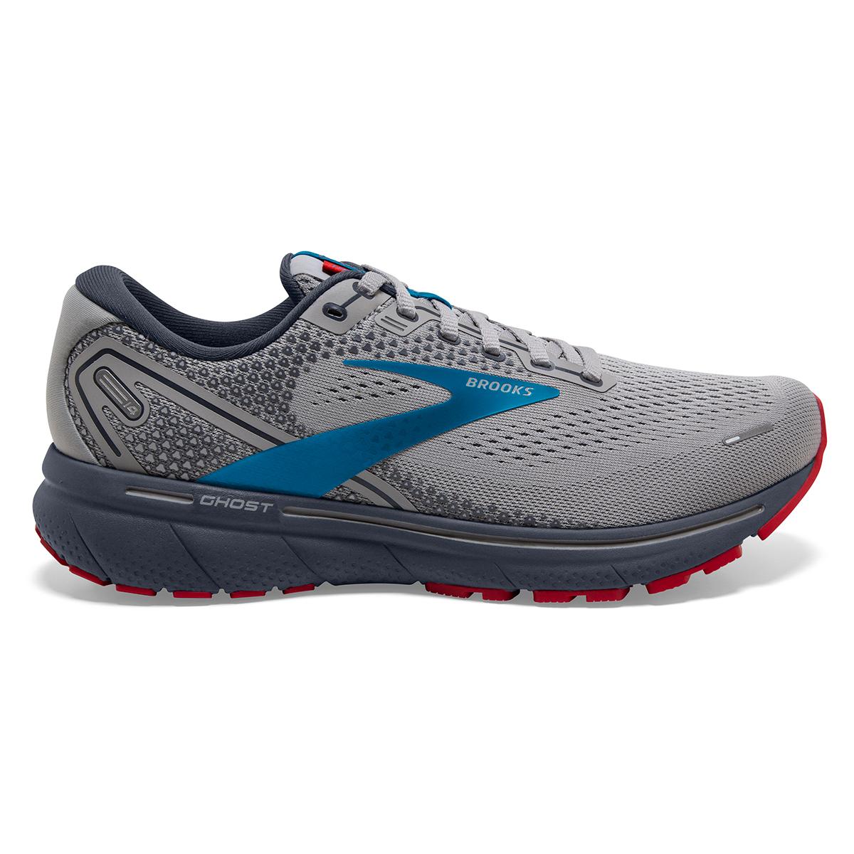 Men's Brooks Ghost 14 Running Shoe - Color: Grey/Blue/Red - Size: 7 - Width: Regular, Grey/Blue/Red, large, image 1
