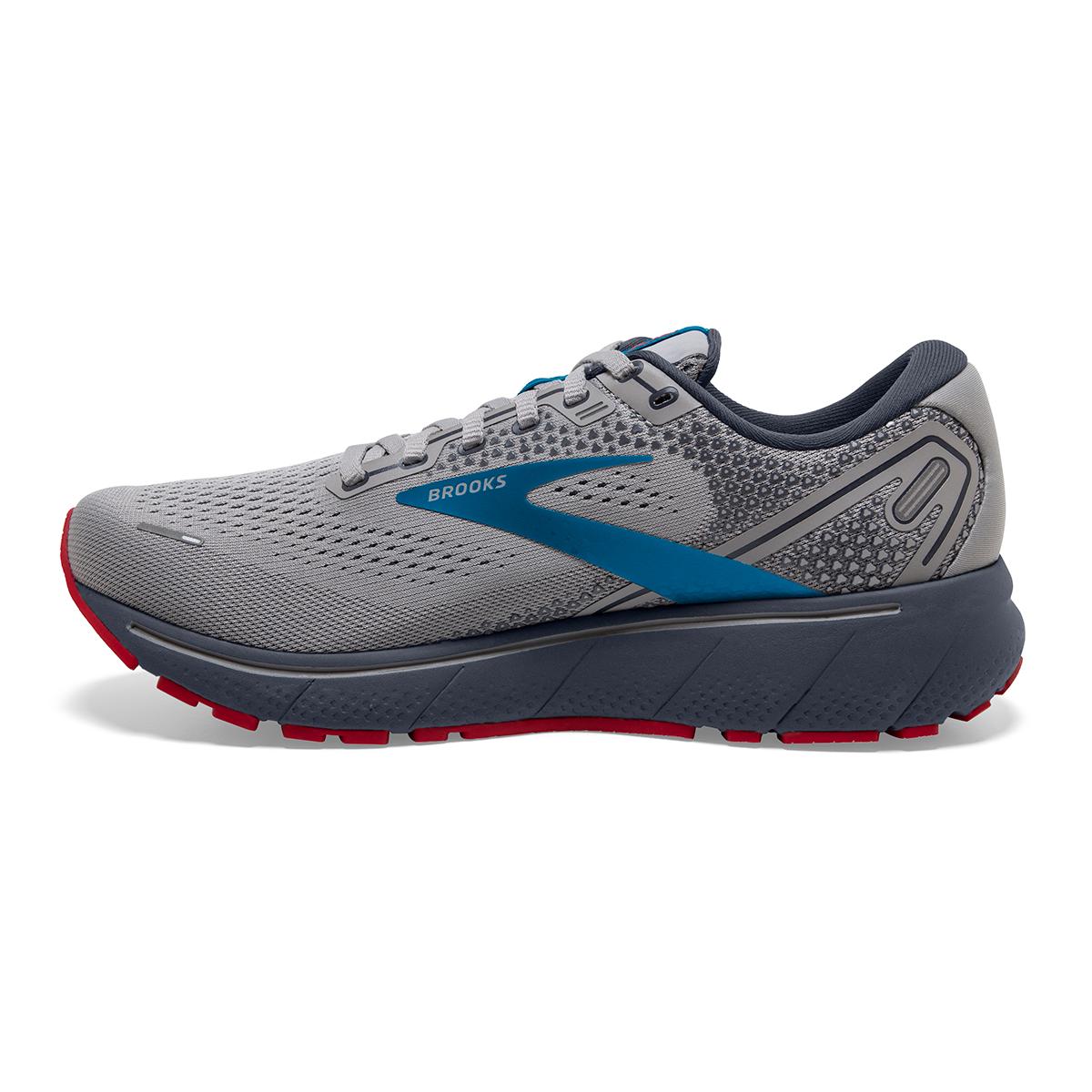 Men's Brooks Ghost 14 Running Shoe - Color: Grey/Blue/Red - Size: 7 - Width: Regular, Grey/Blue/Red, large, image 2