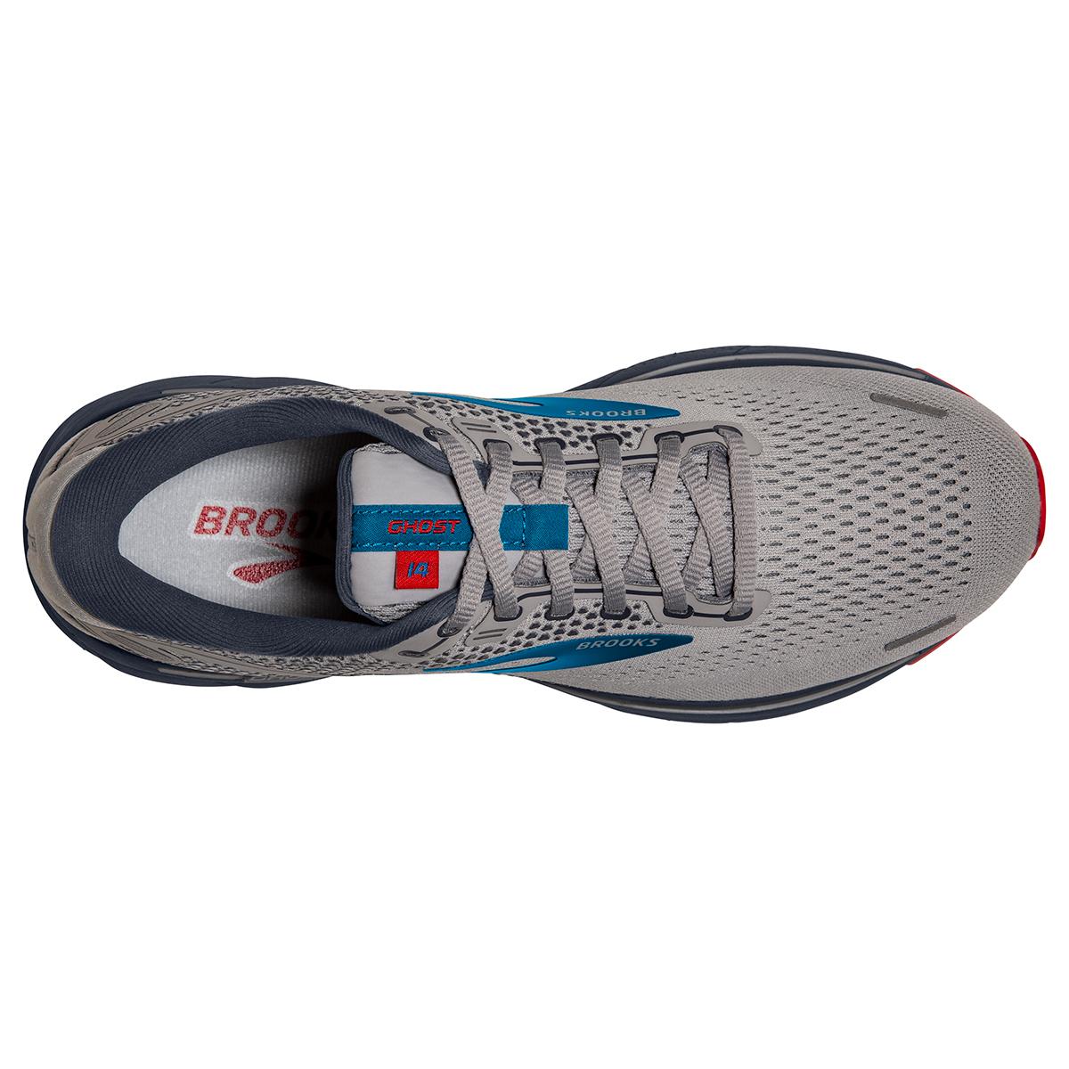 Men's Brooks Ghost 14 Running Shoe - Color: Grey/Blue/Red - Size: 7 - Width: Regular, Grey/Blue/Red, large, image 3