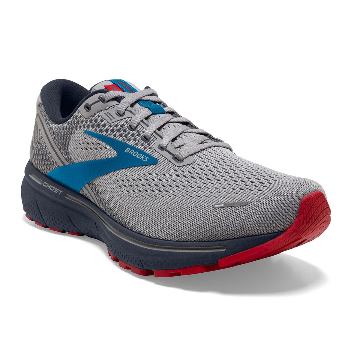 Men's Brooks Ghost 14 Running Shoe - Color: Grey/Blue/Red - Size: 7 - Width: Regular, Grey/Blue/Red, large, image 5