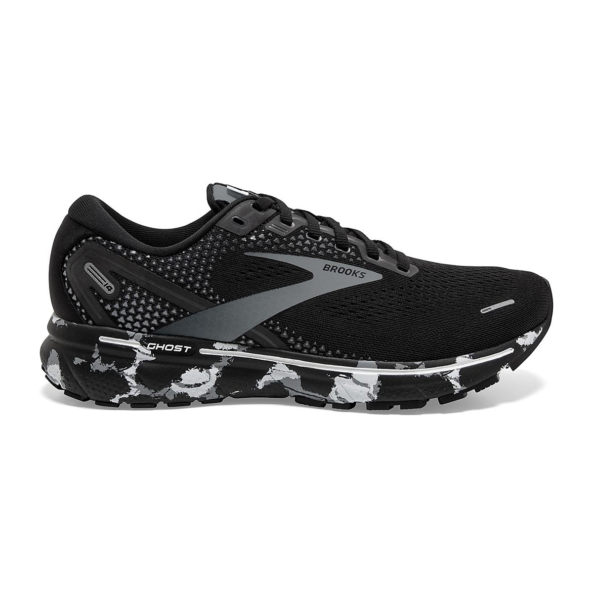 Men's Brooks Ghost 14 Running Shoe - Color: Black/Grey/White - Size: 7 - Width: Regular, Black/Grey/White, large, image 1