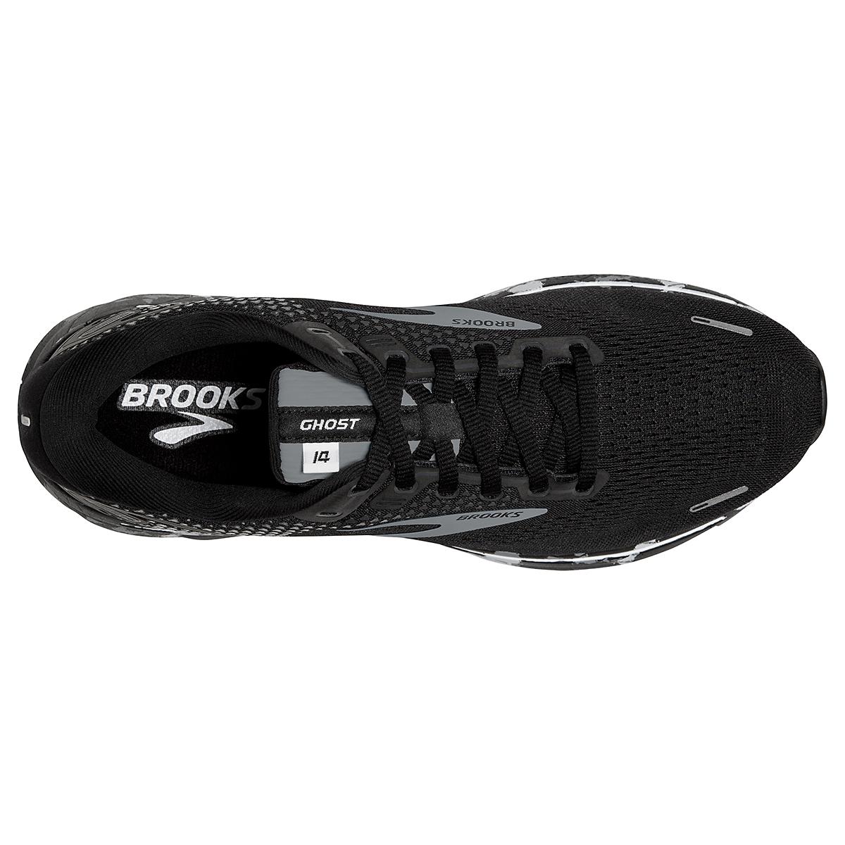 Men's Brooks Ghost 14 Running Shoe - Color: Black/Grey/White - Size: 7 - Width: Regular, Black/Grey/White, large, image 5