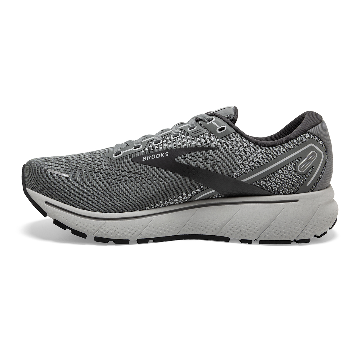 Men's Brooks Ghost 14 Running Shoe - Color: Grey/Alloy/Oyster - Size: 8 - Width: Extra Wide, Grey/Alloy/Oyster, large, image 2