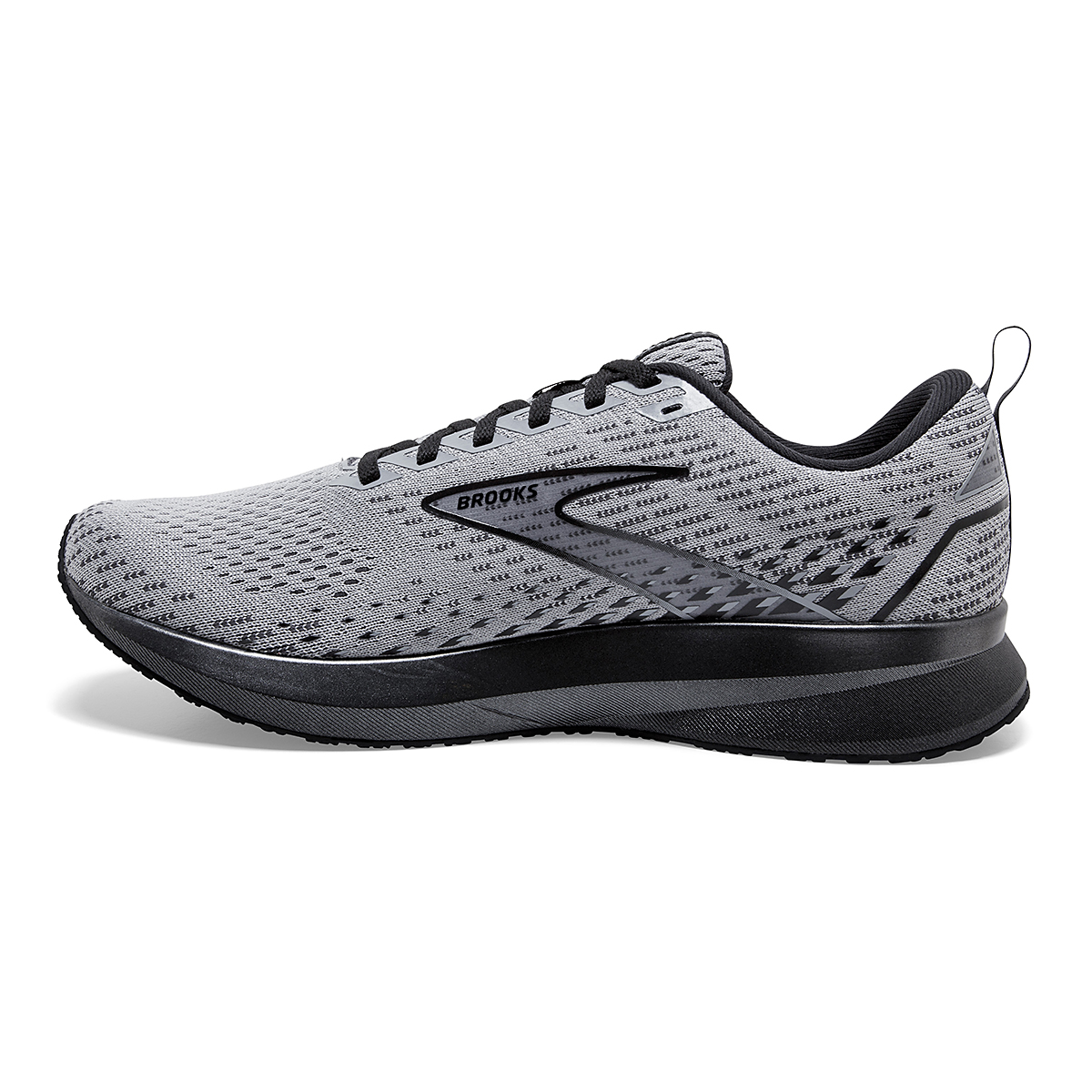 Men's Brooks Levitate 5 Running Shoe - Color: Grey/Blackened - Size: 7 - Width: Regular, Grey/Blackened, large, image 2