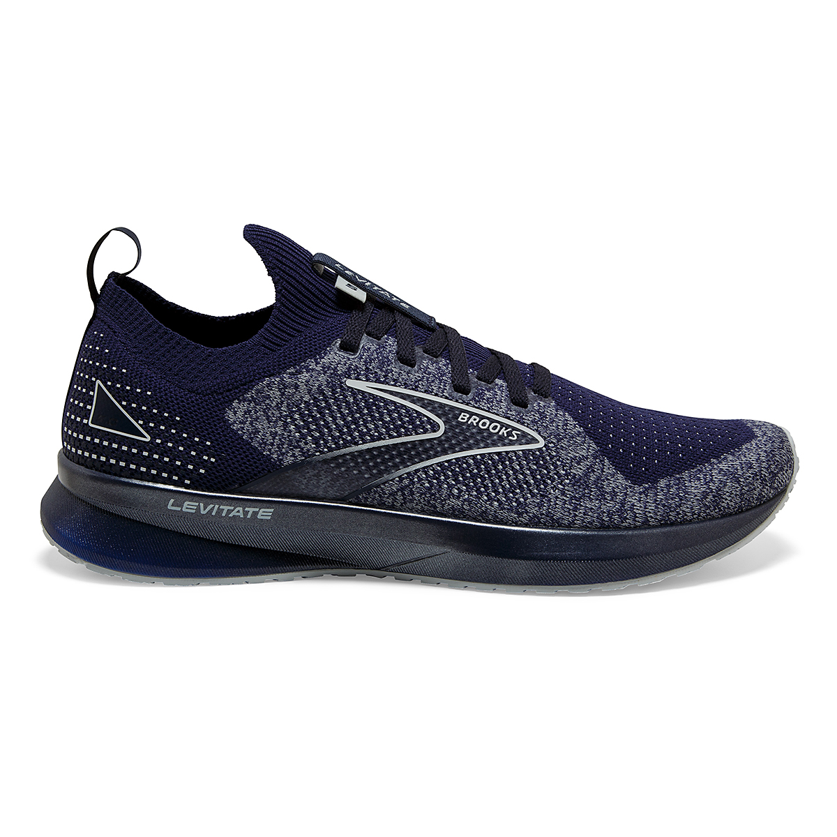 Men's Brooks Levitate Stealthfit 5 Running Shoe - Color: Peacoat/Grey - Size: 7 - Width: Regular, Peacoat/Grey, large, image 1