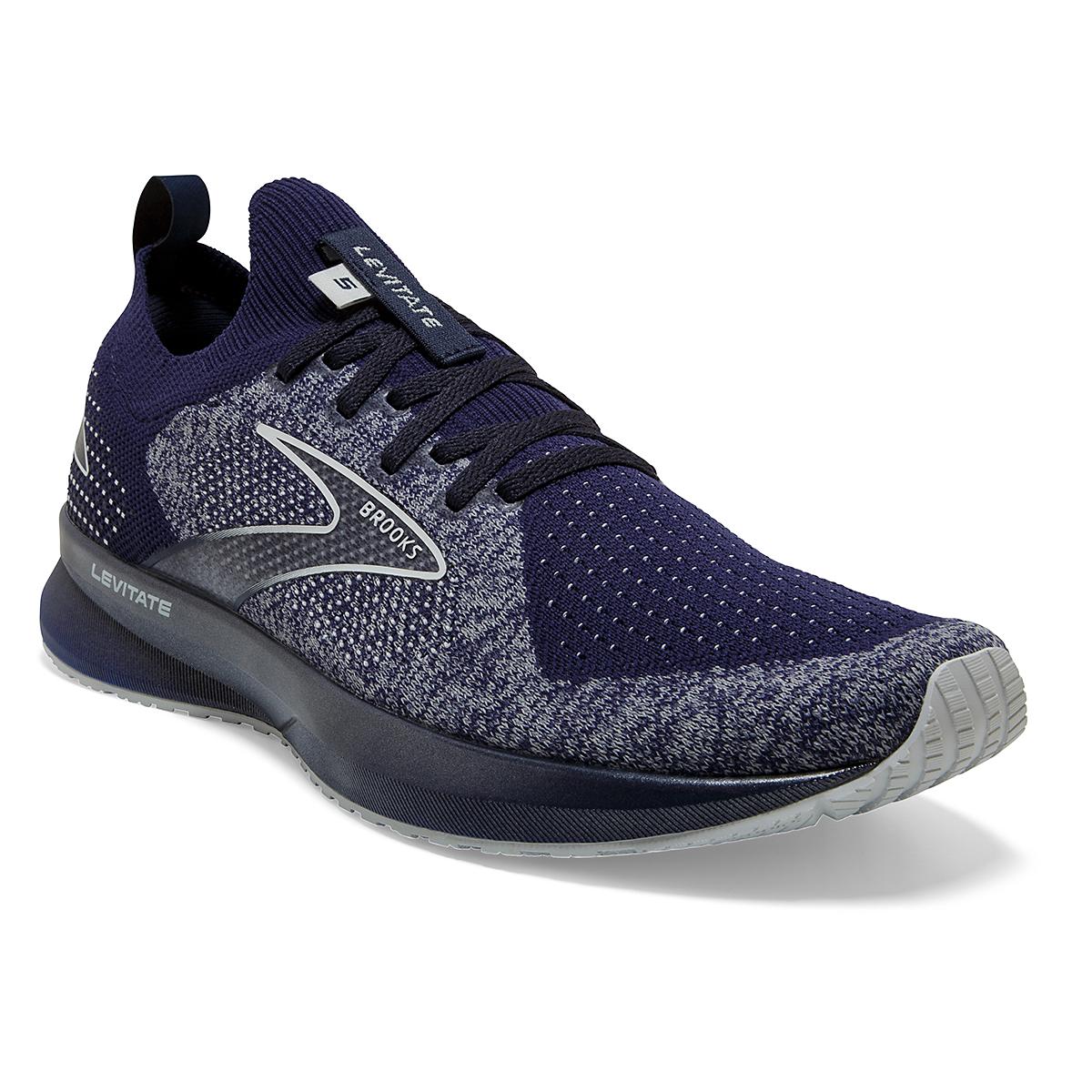 Men's Brooks Levitate Stealthfit 5 Running Shoe - Color: Peacoat/Grey - Size: 7 - Width: Regular, Peacoat/Grey, large, image 2
