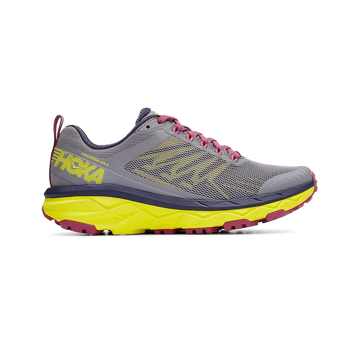 Women's Hoka One One Challenger ATR 5 Trail Running Shoe - Color: Frost Gray/Evening Primrose - Size: 5 - Width: Regular, Frost Gray/Evening Primrose, large, image 1