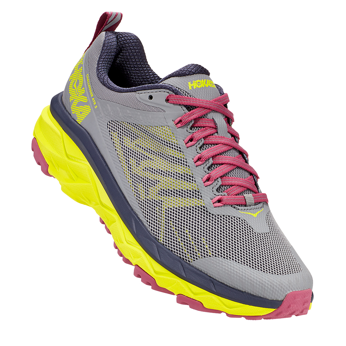 Women's Hoka One One Challenger ATR 5 Trail Running Shoe - Color: Frost Gray/Evening Primrose - Size: 5 - Width: Regular, Frost Gray/Evening Primrose, large, image 3