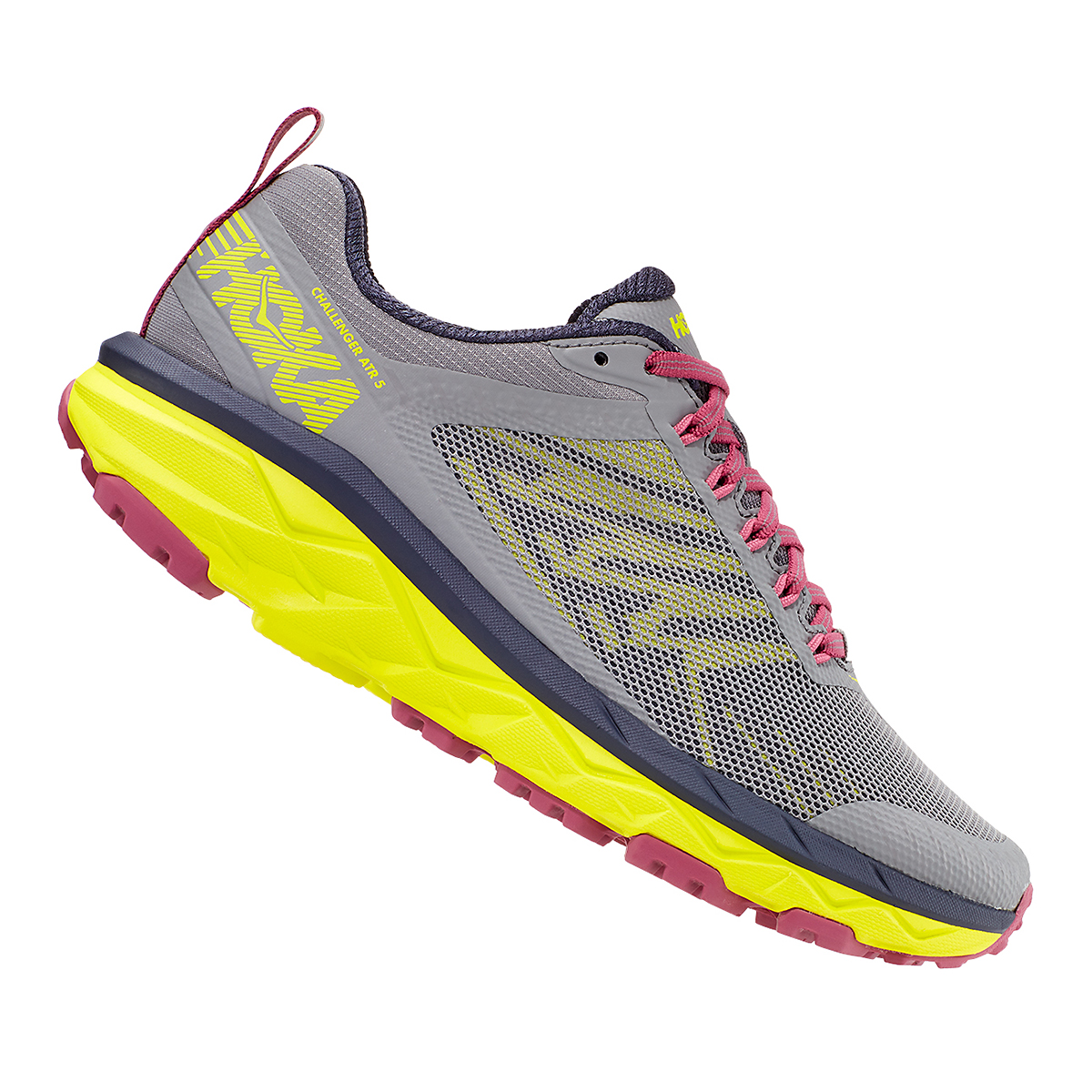 Women's Hoka One One Challenger ATR 5 Trail Running Shoe - Color: Frost Gray/Evening Primrose - Size: 5 - Width: Regular, Frost Gray/Evening Primrose, large, image 4