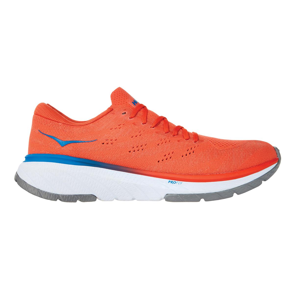 Men's Hoka One One Cavu 3 Running Shoe - Color: Mandarin Red/White - Size: 7 - Width: Regular, Mandarin Red/White, large, image 1