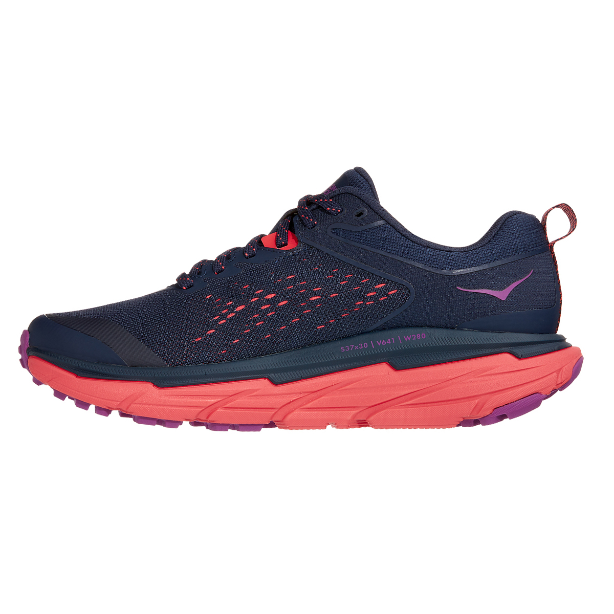 Women's Hoka One One Challenger ATR 6 Running Shoe - Color: Black Iris/Hot Coral - Size: 5 - Width: Regular, Black Iris/Hot Coral, large, image 2