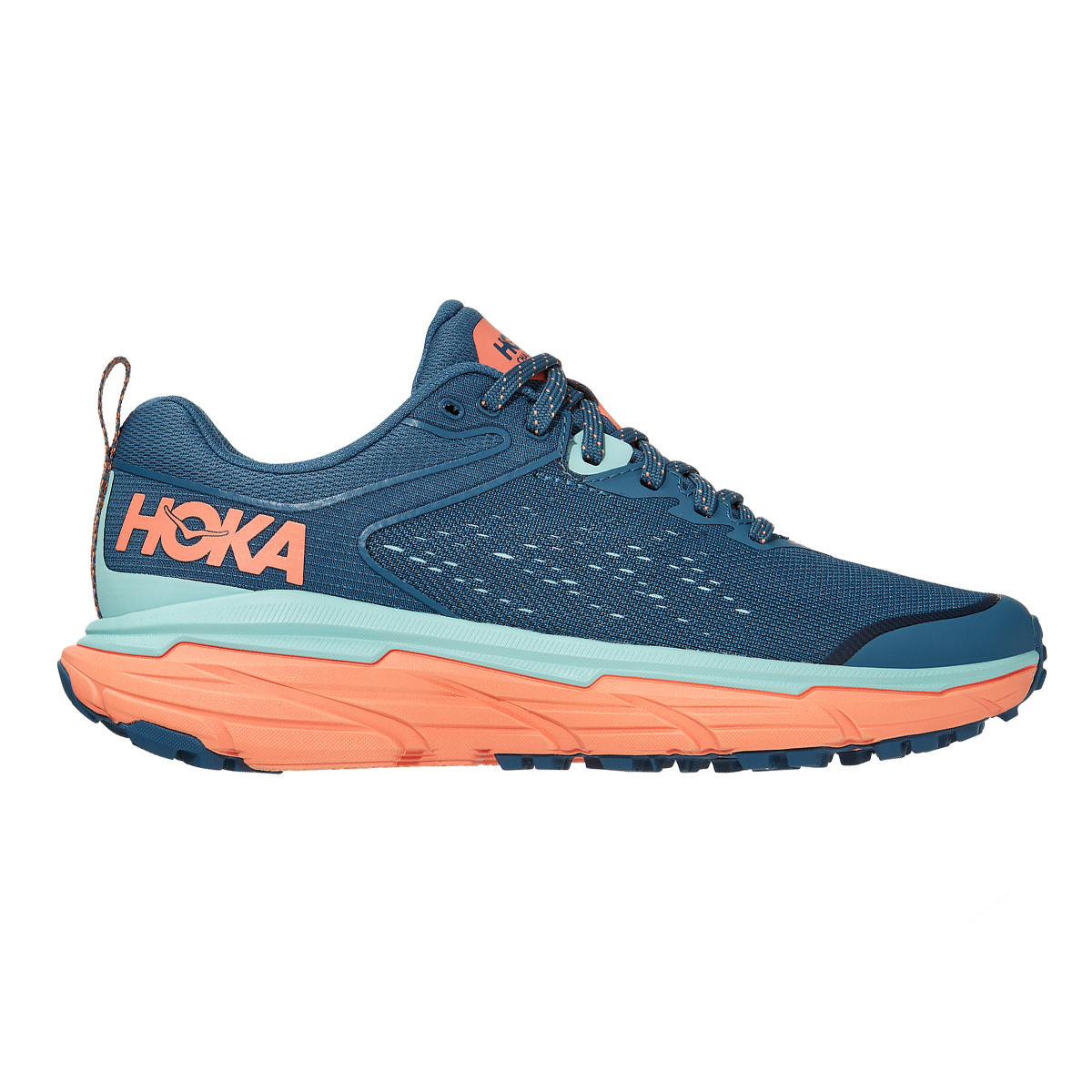 Women's Hoka One One Challenger ATR 6 Trail Running Shoe - Color: Real Teal / Cantaloupe - Size: 5 - Width: Regular, Real Teal / Cantaloupe, large, image 1