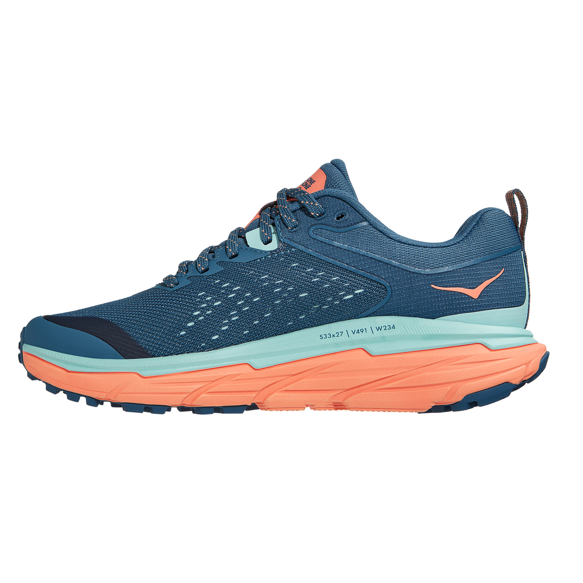 Women's Hoka One One Challenger ATR 6 Trail Running Shoe - Color: Real Teal / Cantaloupe - Size: 5 - Width: Regular, Real Teal / Cantaloupe, large, image 2
