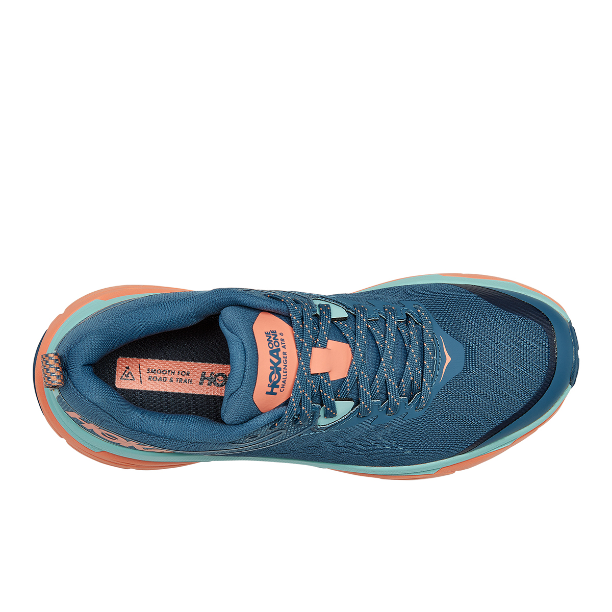 Women's Hoka One One Challenger ATR 6 Trail Running Shoe - Color: Real Teal / Cantaloupe - Size: 5 - Width: Regular, Real Teal / Cantaloupe, large, image 3