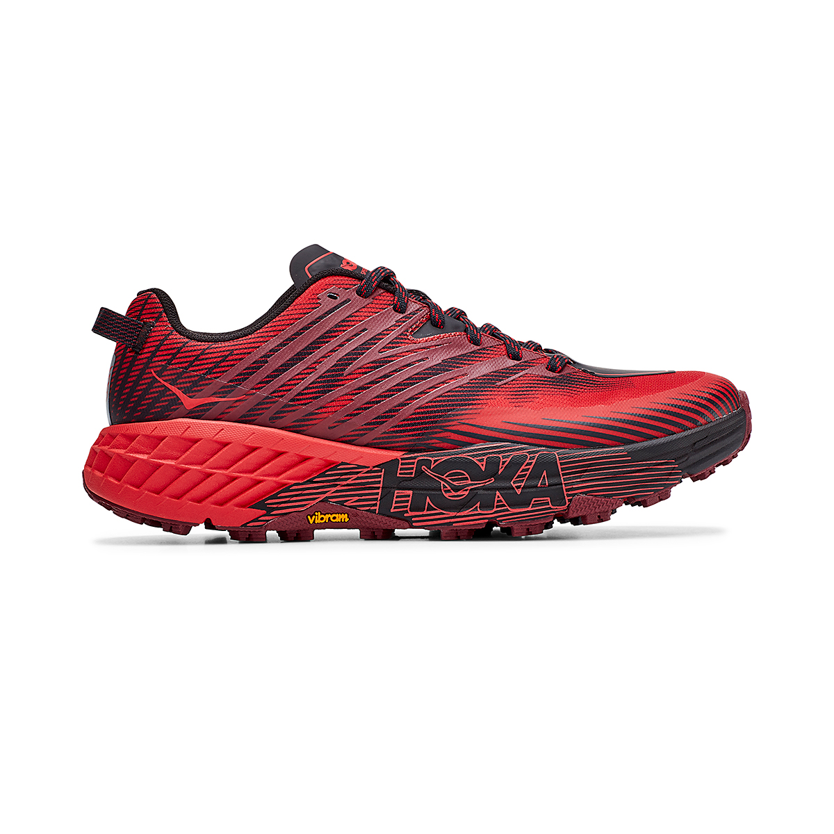 Men's Hoka One One Speedgoat 4 Trail Running Shoe - Color: Cordovan/High Risk Red - Size: 7 - Width: Regular, Cordovan/High Risk Red, large, image 1