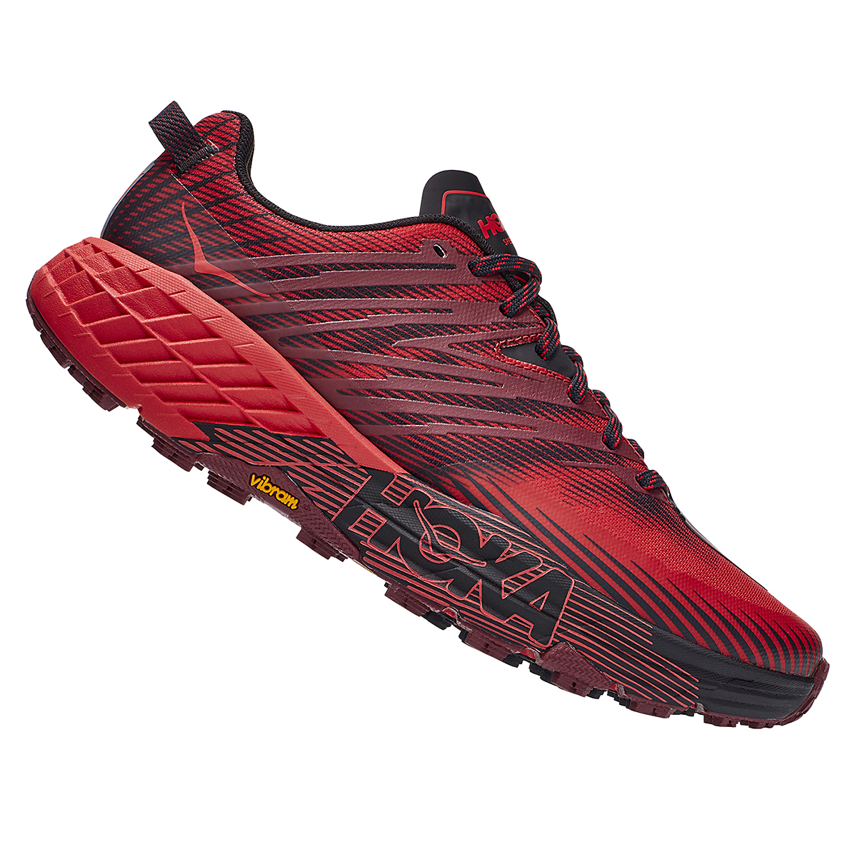 Men's Hoka One One Speedgoat 4 Trail Running Shoe - Color: Cordovan/High Risk Red - Size: 7 - Width: Regular, Cordovan/High Risk Red, large, image 3