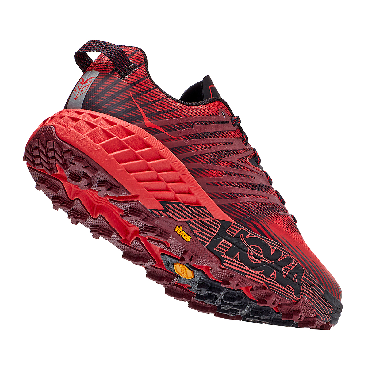 Men's Hoka One One Speedgoat 4 Trail Running Shoe - Color: Cordovan/High Risk Red - Size: 7 - Width: Regular, Cordovan/High Risk Red, large, image 4