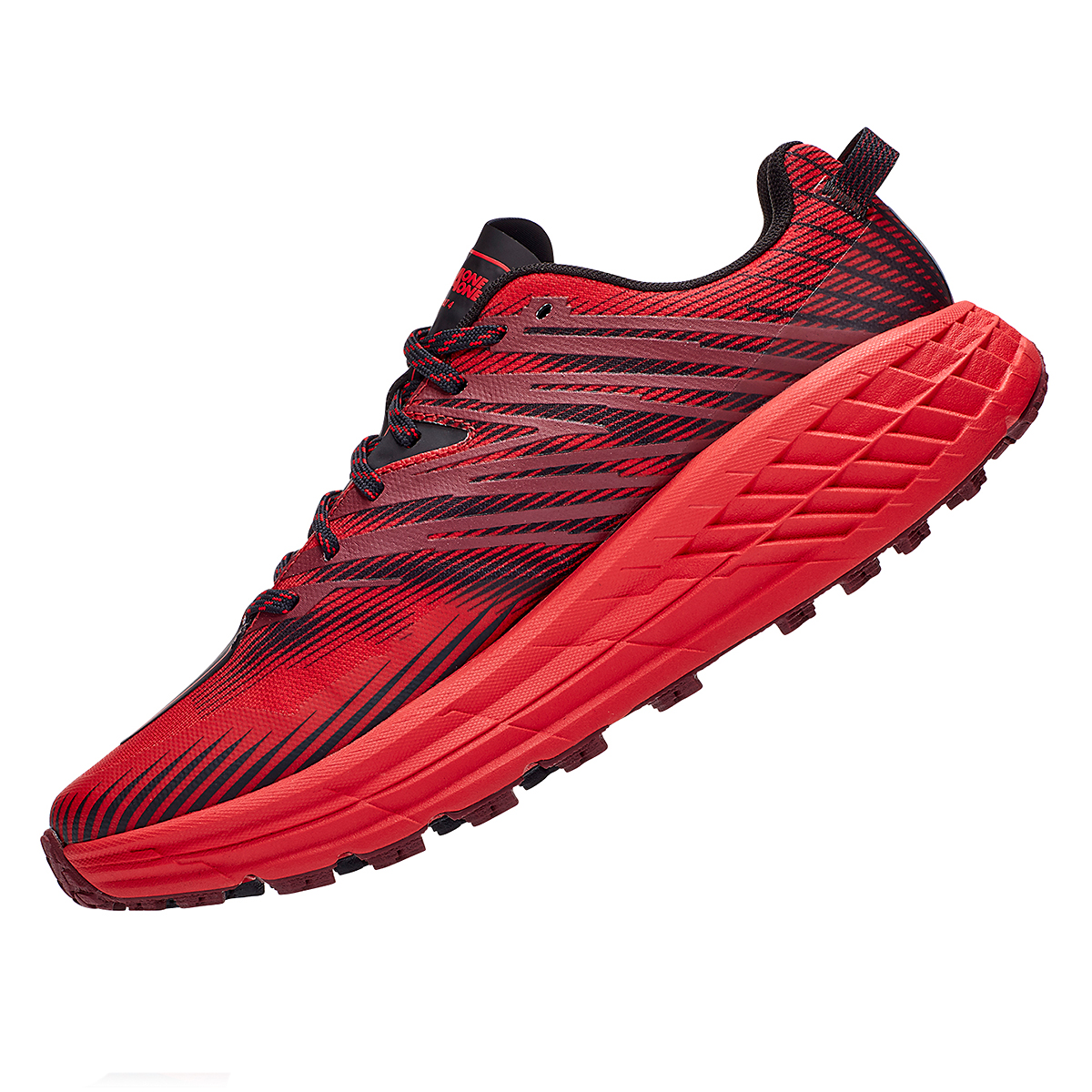Men's Hoka One One Speedgoat 4 Trail Running Shoe - Color: Cordovan/High Risk Red - Size: 7 - Width: Regular, Cordovan/High Risk Red, large, image 5
