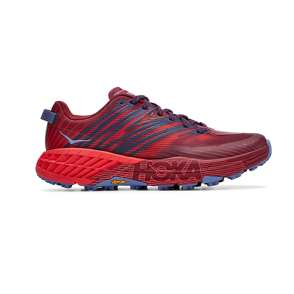 Women's Hoka One One Speedgoat 4 Trail Running Shoe - Color: Cordovan/High Risk Red - Size: 5 - Width: Regular, Cordovan/High Risk Red, large, image 1