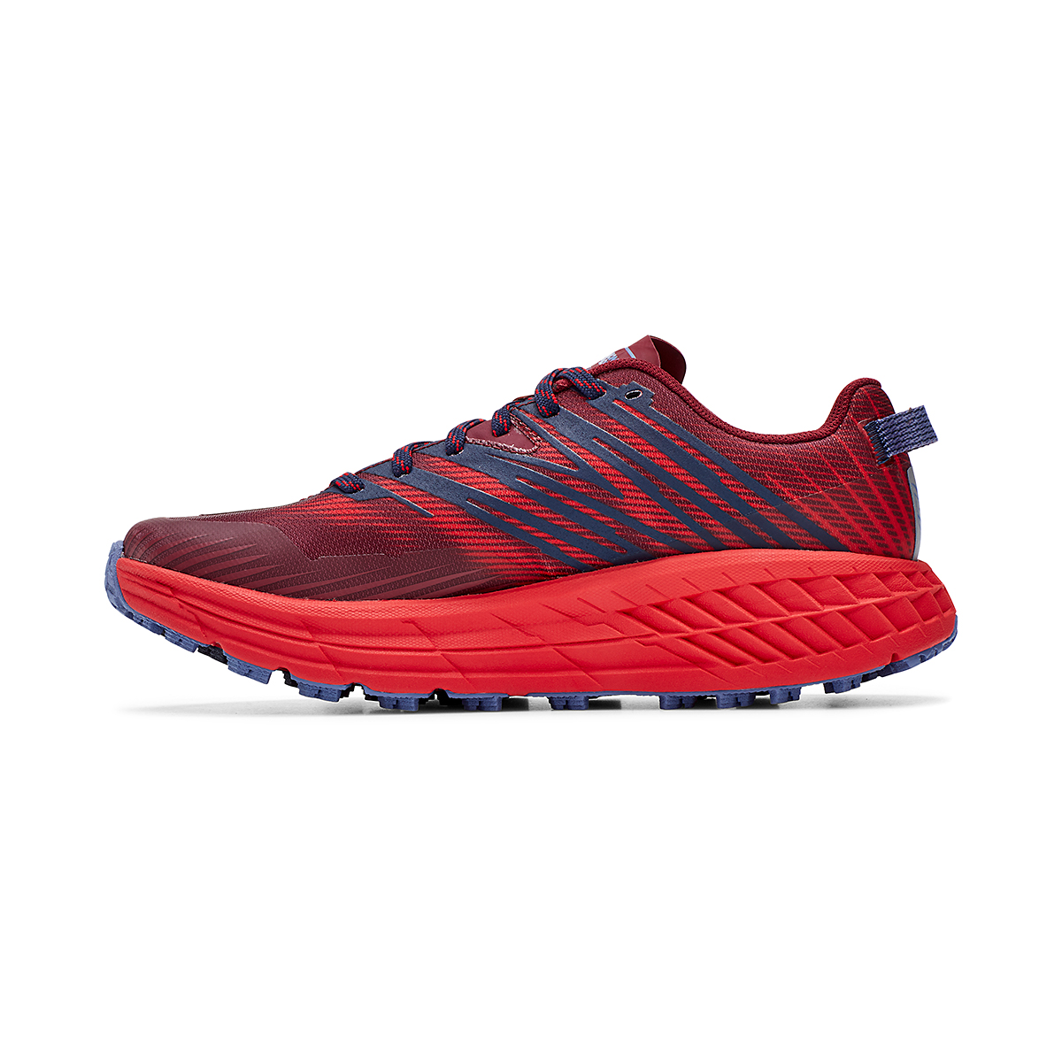 Women's Hoka One One Speedgoat 4 Trail Running Shoe - Color: Cordovan/High Risk Red - Size: 5 - Width: Regular, Cordovan/High Risk Red, large, image 2