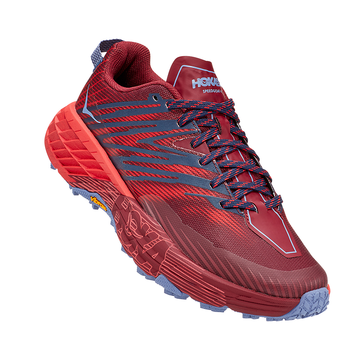 Women's Hoka One One Speedgoat 4 Trail Running Shoe - Color: Cordovan/High Risk Red - Size: 5 - Width: Regular, Cordovan/High Risk Red, large, image 3