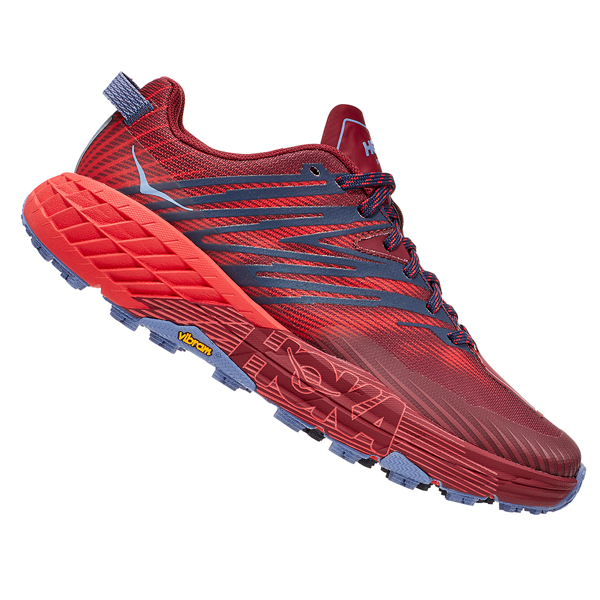 Women's Hoka One One Speedgoat 4 Trail Running Shoe - Color: Cordovan/High Risk Red - Size: 5 - Width: Regular, Cordovan/High Risk Red, large, image 4
