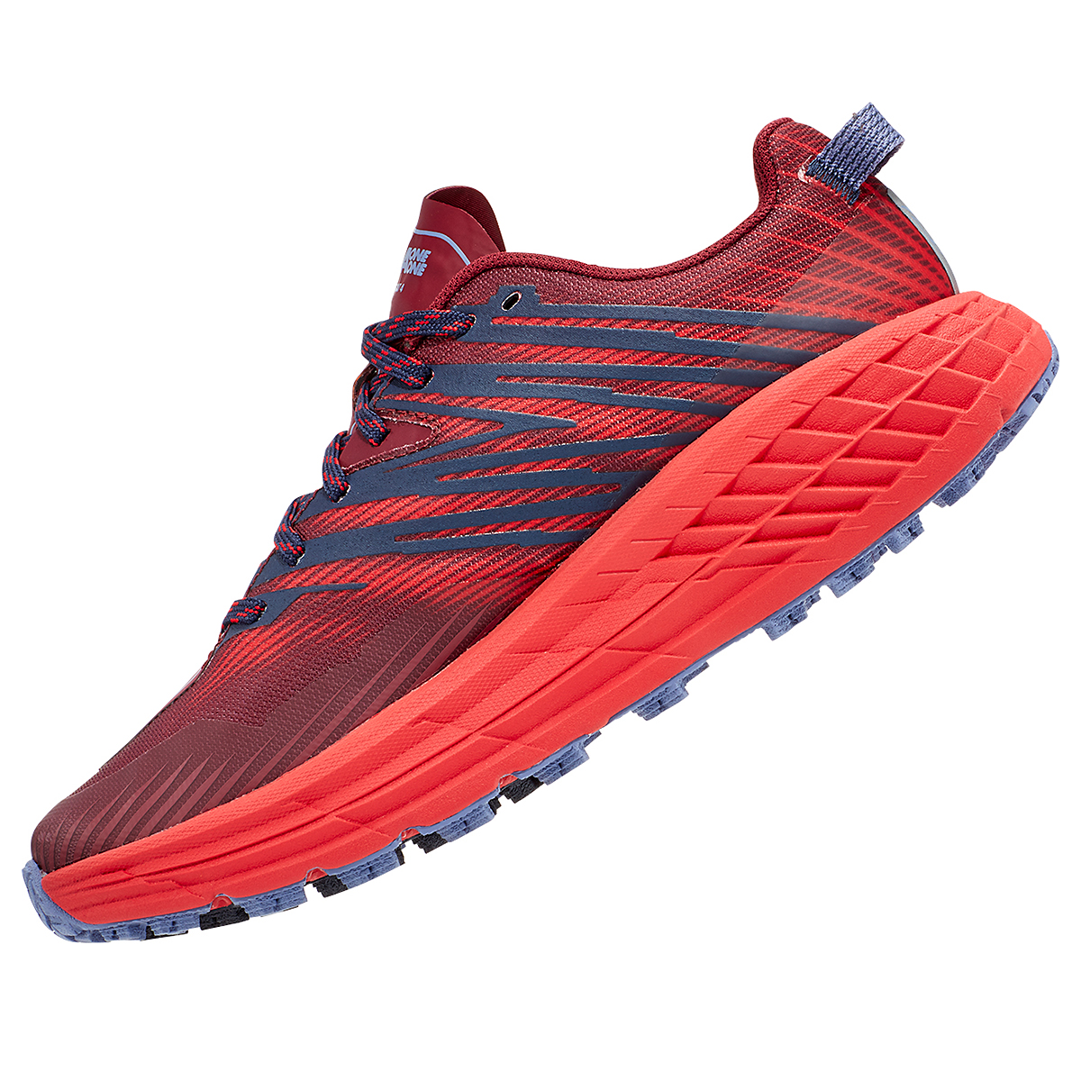 Women's Hoka One One Speedgoat 4 Trail Running Shoe - Color: Cordovan/High Risk Red - Size: 5 - Width: Regular, Cordovan/High Risk Red, large, image 6