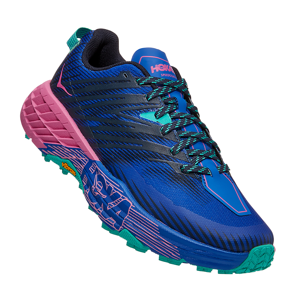 Women's Hoka One One Speedgoat 4 Trail Running Shoe - Color: Dazzling Blue/Phlox Pink - Size: 6 - Width: Regular, Dazzling Blue/Phlox Pink, large, image 2